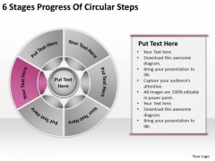 6 Stages Progress Of Circular Steps Business Plan Strategy PowerPoint Slides