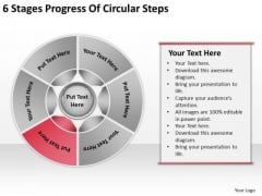 6 Stages Progress Of Circular Steps Chiropractic Business Plan PowerPoint Slides