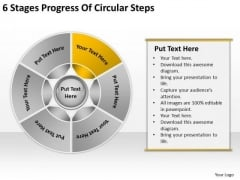 6 Stages Progress Of Circular Steps Graphic Design Business Plan PowerPoint Slides