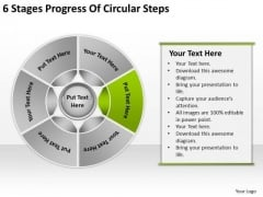 6 Stages Progress Of Circular Steps Samples Business Plan PowerPoint Templates