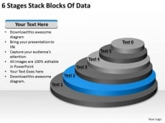 6 Stages Stack Blocks Of Data Construction Business Plan PowerPoint Templates