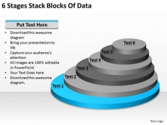 6 Stages Stack Blocks Of Data Format Business Plan PowerPoint Slides