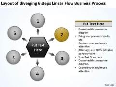 6 Steps Linear Flow Business Process Business Relative Circular Arrow PowerPoint Slides