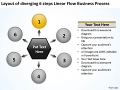 6 Steps Linear Flow Business Process Circle Relative Circular Arrow PowerPoint Slides