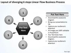 6 Steps Linear Flow Business Process Relative Circular Arrow PowerPoint Slides