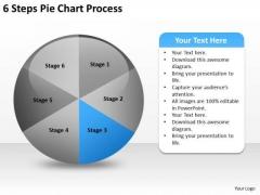 6 Steps Pie Chart Process Business Plan PowerPoint Slides