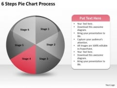 6 Steps Pie Chart Process Sample Real Estate Business Plan PowerPoint Slides