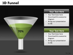 70 Percent 3d Funnel Diagrams For PowerPoint Templates