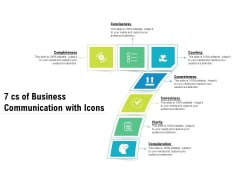 7 Cs Of Business Communication With Icons Ppt PowerPoint Presentation Portfolio Tips PDF