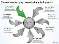 7 Arrows Converging Towards Single Task Process Cycle Motion Network PowerPoint Templates