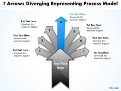 7 Arrows Diverging Representing Process Model Circular Chart PowerPoint Templates