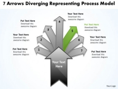7 Arrows Diverging Representing Process Model Cycle Motion Chart PowerPoint Templates