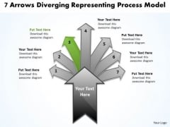 7 Arrows Diverging Representing Process Model Pie Network PowerPoint Templates