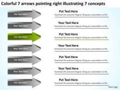 7 Arrows Pointing Right Illustrating Concepts Business Plan Start Up PowerPoint Templates