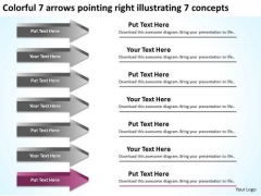 7 Arrows Pointing Right Illustrating Concepts Ppt Hot Dog Business Plan PowerPoint Slides