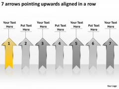 7 Arrows Pointing Upwards Aligned Ppt New Business Plan Template PowerPoint Templates