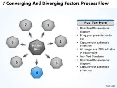 7 Converging And Diverging Factors Process Flow Gear Chart PowerPoint Templates