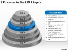 7 Processess As Stack Of Layers Ppt Business Plan Free PowerPoint Templates