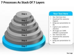 7 Processess As Stack Of Layers Ppt Business Plan PowerPoint Slides