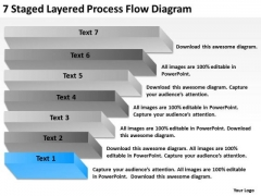 7 Staged Layered Process Flow Diagram Ppt Business Plan Outline Template PowerPoint Slides