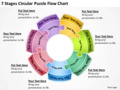 7 Stages Circular Puzzle Flow Chart Day Business Plan Template PowerPoint Slides