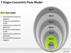 7 Stages Concentric Flow Model Business Plan PowerPoint Slides