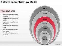 7 Stages Concentric Flow Model Designing Business Plan PowerPoint Templates