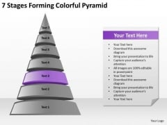 7 Stages Forming Colorful Pyramid Ppt Business Plan PowerPoint Templates