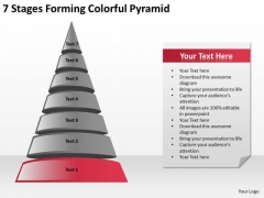 7 Stages Forming Colorful Pyramid Ppt Small Business Plan Templates PowerPoint