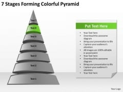 7 Stages Forming Colorful Pyramid Sample Sales Business Plan PowerPoint Slides