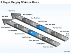 7 Stages Merging Of Arrow Flows Business Plan Outline PowerPoint Templates