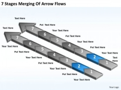 7 Stages Merging Of Arrow Flows Format Business Plan PowerPoint Slides