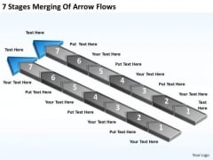 7 Stages Merging Of Arrow Flows Sample Business Plans PowerPoint Slides