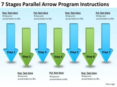 7 Stages Parallel Arrow Program Instructions Elements Business Plan PowerPoint Templates