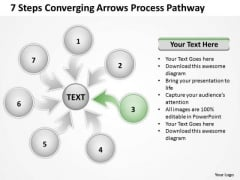 7 Steps Coverging Arrows Process Pathway Circular Flow Network PowerPoint Template