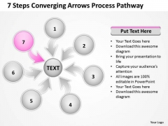 7 Steps Coverging Arrows Process Pathway Network Software PowerPoint Slide