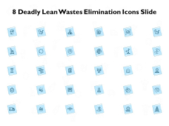 8 deadly lean wastes elimination icons slide ppt powerpoint presentation styles graphics download