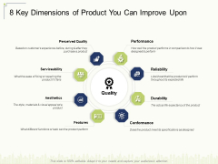 8 Key Dimensions Of Product You Can Improve Upon Ppt Visual Aids Ideas PDF