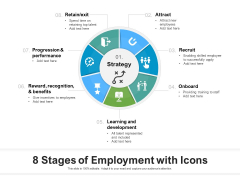 8 Stages Of Employment With Icons Ppt PowerPoint Presentation File Brochure PDF