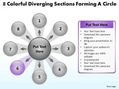 8 Colorful Diverging Sections Forming A Circle Cycle Arrow Chart PowerPoint Templates