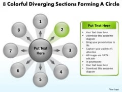 8 Colorful Diverging Sections Forming A Circle Cycle Flow Network PowerPoint Slides