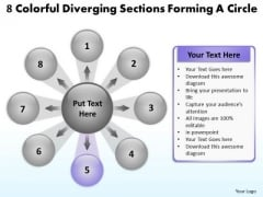 8 Colorful Diverging Sections Forming A Circle Cycle Process PowerPoint Slides