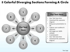 8 Colorful Diverging Sections Forming A Circle Gear Chart PowerPoint Slides