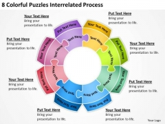 8 Colorful Puzzles Interrelated Process Detailed Business Plan PowerPoint Slides