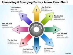 8 Diverging Factors Arrow Flow Chart Circular Process PowerPoint Slides