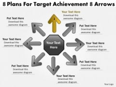 8 Plans For Target Achievement Arrows Circular Motion Process PowerPoint Slides