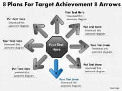 8 Plans For Target Achievement Arrows Cycle Process PowerPoint Slides