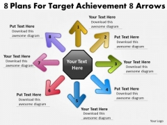 8 Plans For Target Achievement Arrows Cycle Process PowerPoint Templates