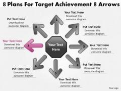 8 Plans For Target Achievement Arrows Ppt Circular Network PowerPoint Slides
