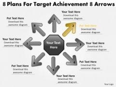 8 Plans For Target Achievement Arrows Venn Diagram PowerPoint Slides